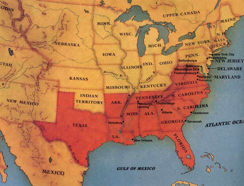 CSI Without Dead Bodies The Civil War In A Larger International - Map of us at start of civil war